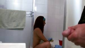 Porn star with charming character watching a mister masturbate