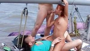 Threesome on a boat looks very provoking and hot as long as she cock homage