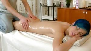 Deviant astounding chick is getting her oily character massaged by horny masseur