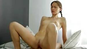 Really skinny sweetheart is riding this massive penis hard core