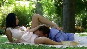 Dude sexually licking her toes on nature