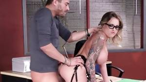 Naughty couple has sex in a office