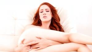 Astounding redhead bitch fingering alluring soaked cum-hole