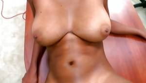 Raunchy dark-skinned tramp with greater billibongs riding in pov