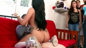 Fresh shapely dark-haired getting publicly prodded