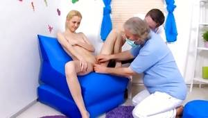Light-haired harlot is getting her cooter examined by a doctor and fucked vulgar