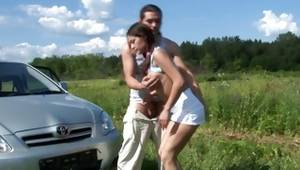 Fine couple has a dirty fucking outdoors at a car and look really fervent