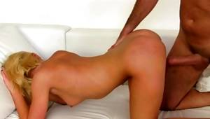 Blonde bare whore is dripped wildly