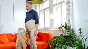 Aged man is licking her perfect snatch