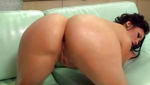 Sexual brown-haired whore is sucking on the heavy balls